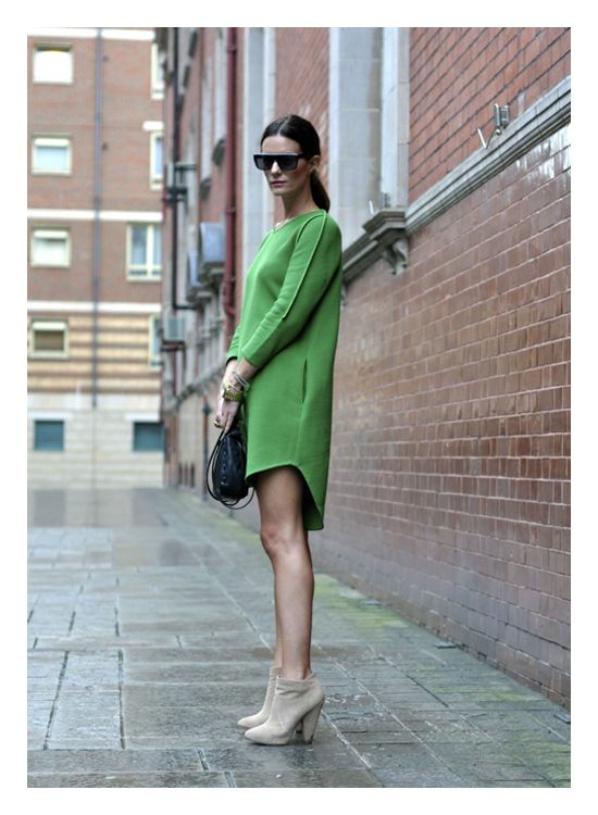 The modern hi-lo / green dress // NYFW Spring 2014