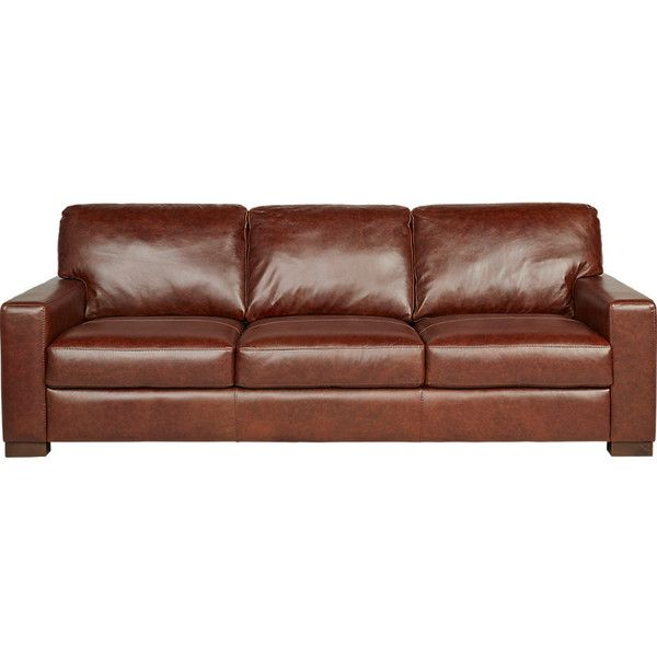 Vicario Brown Leather Sofa ❤ liked on Polyvore featuring home