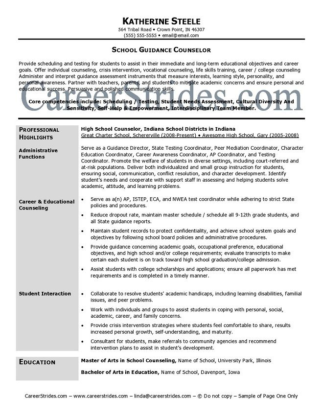 Professional School Counselor Resume School Guidance