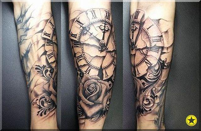 Czas Róża Zegar Tatuaż Tattooos Pinterest Tattoos