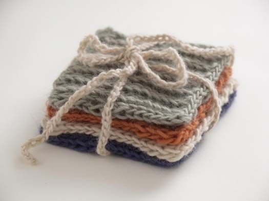 Set Of Four Knitted Coasters With Images Loom Knitting