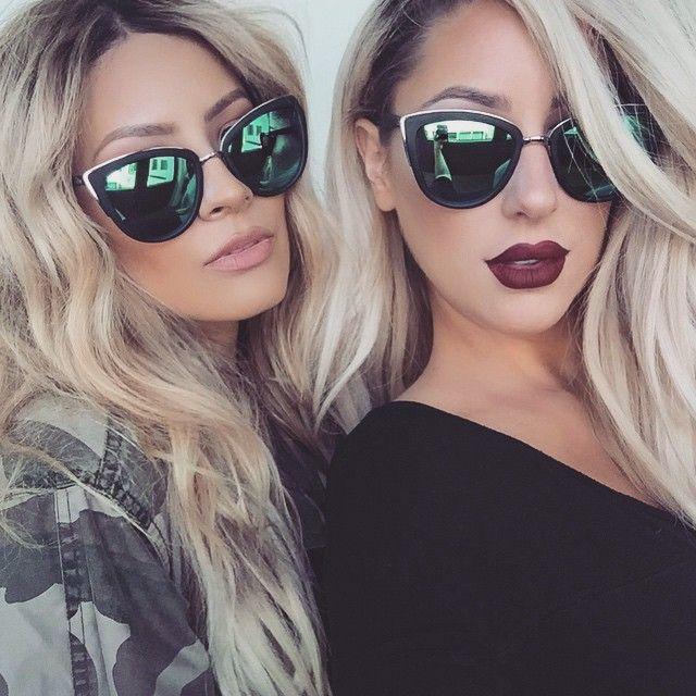 "I need these sunglasses!!  credit to Desi Perkins (@desimakeup) : It's raining sunnies  here at @quayaustralia headquarters  @chrisspy and I wearing ""my girl"" shades ✌️ #quayaustralia"