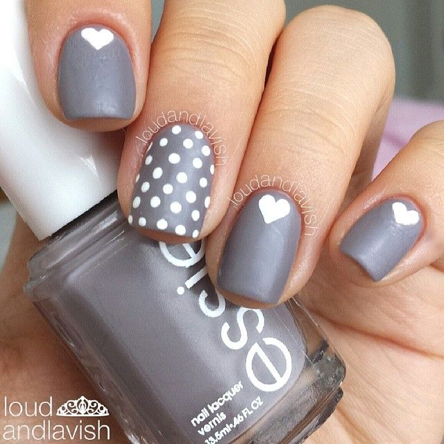 """base is #essie chinchilly the white detailing is acrylic paint"" - without the hearts and it would be perfect"