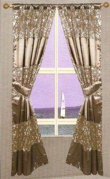 Popular Bath Sinatra Silver Window Curtain Amazon Com Home Kitchen Popular Bath Window Curtains Curtains
