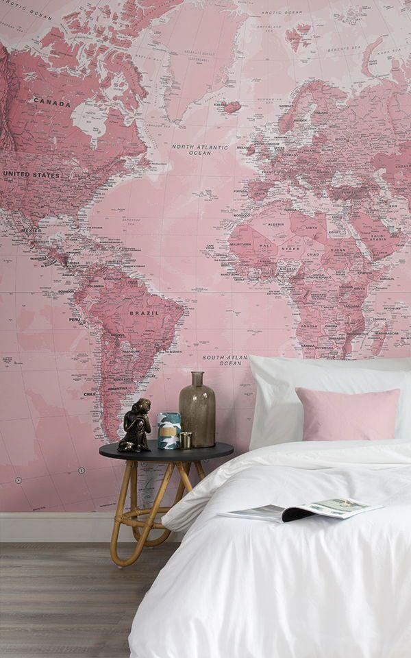 Rosa Weltkarte Wandtapete Pink Wallpaper Mural Wallpaper Map Wall Mural