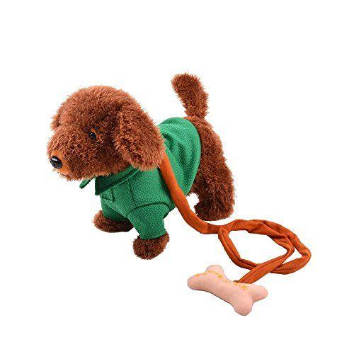 Katedy Electric Leash Dog Plush Toy Dog Tedder Dog Music Robot Dog
