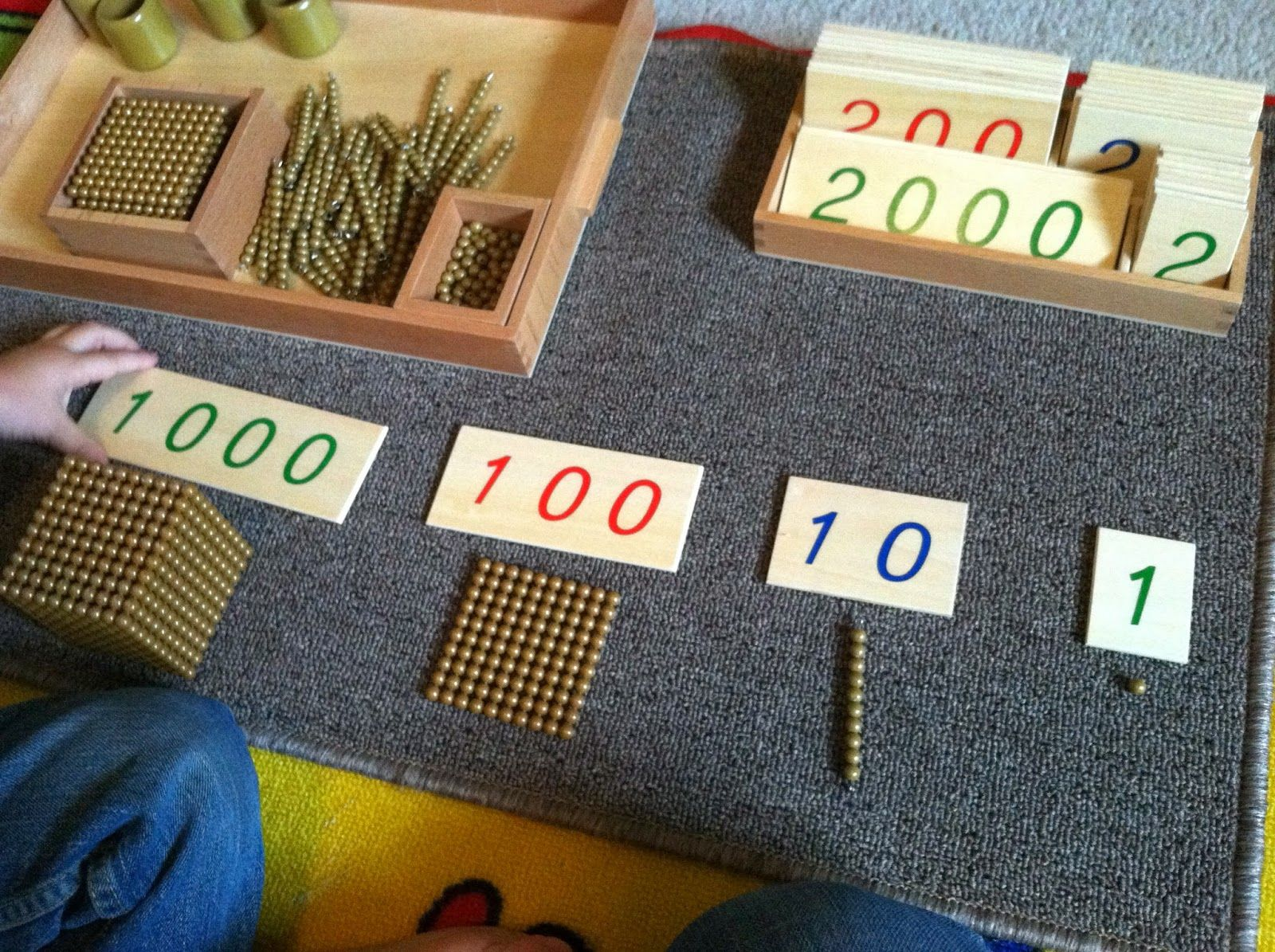 Montessori Math Large Number Cards And Golden Beads Tray