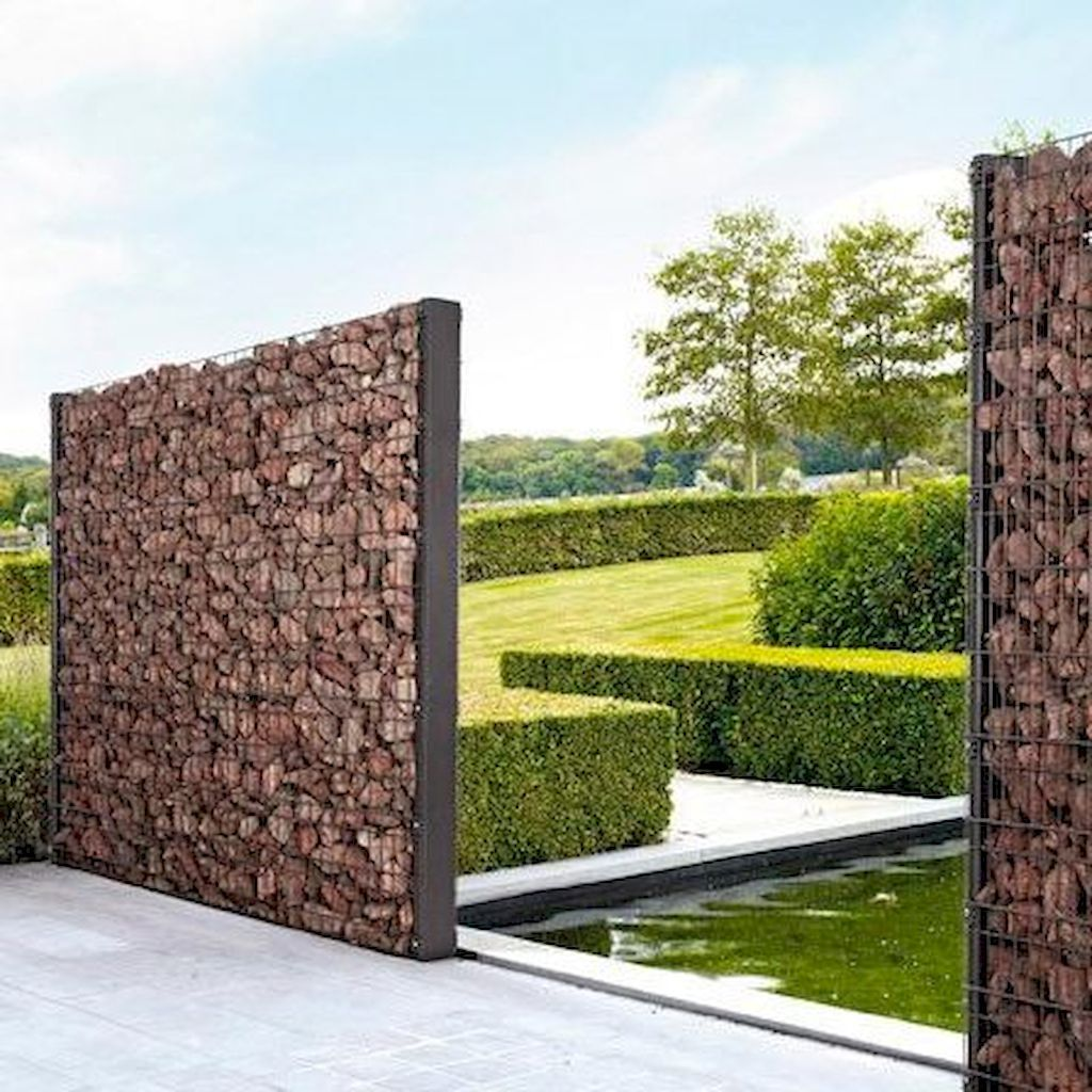 55 Fabulous Gabion Fence Design For Garden Landscaping Ideas Insidexterior Fence Design Gabion Fence Gabion Wall