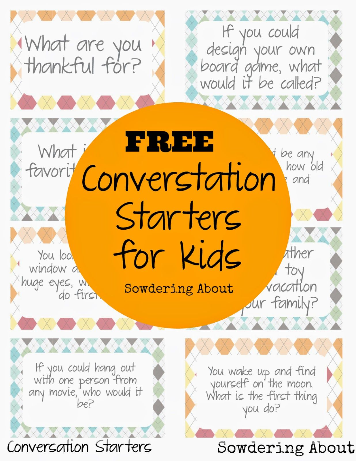photo about Printable Conversation Cards identified as Cost-free printable; Communication starters for small children Lunchtime