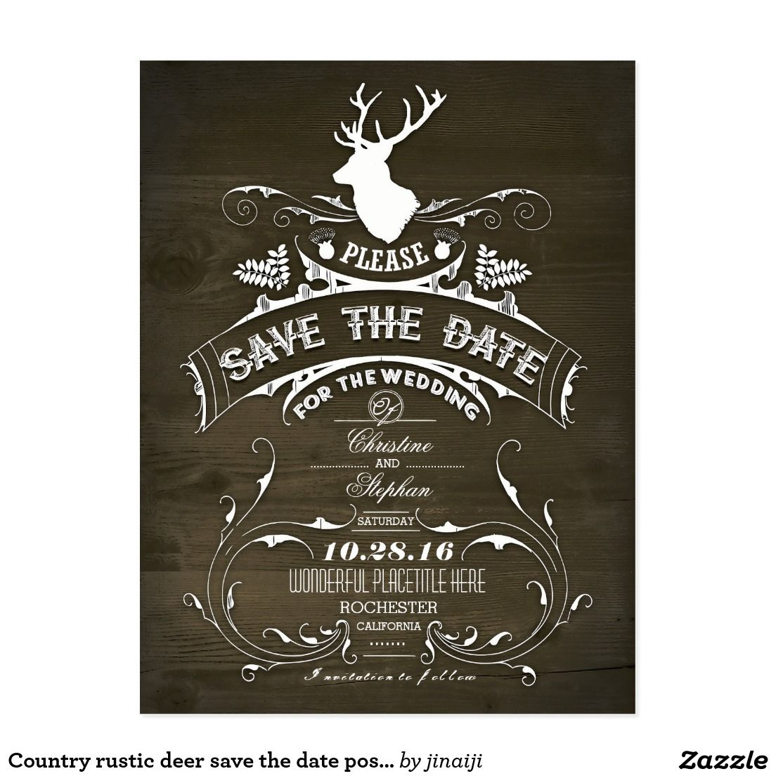 Country rustic deer save the date postcard