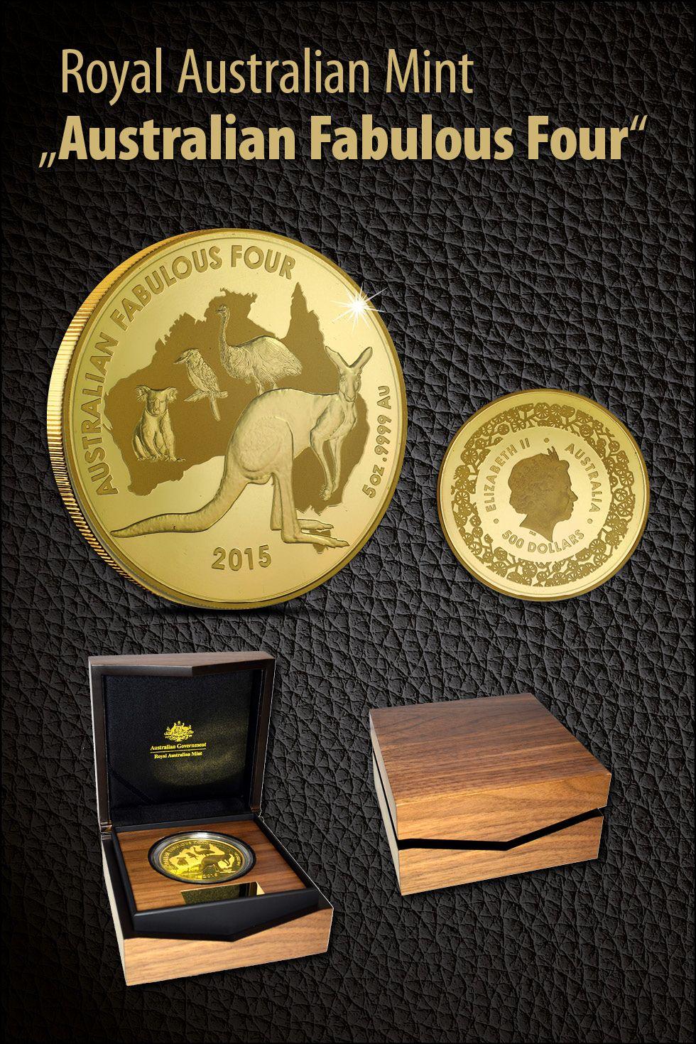500 Dollar Australian Fabulous Four 5 Oz Gold In Polierter Platte Auflage Nur 99 Exemplare