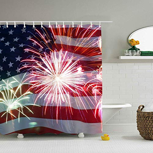 Abaysto Print 4th Of July Fireworks Shower Curtain 4th Of July