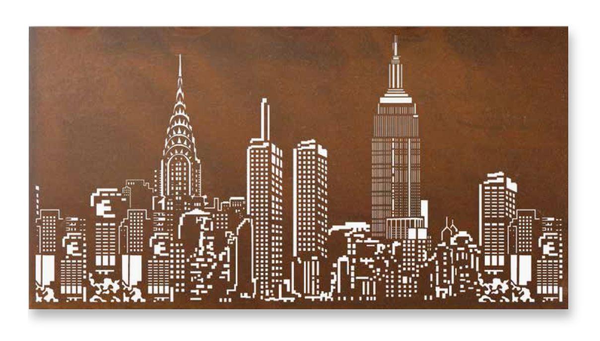 New York Skyline Metal Art Lightbox Metal Garden Wall Art New York Skyline New York Papers