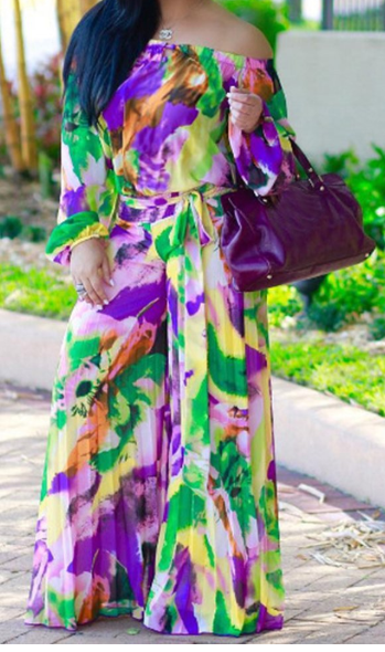 41f0f4f52f6 Multicolour Chiffon Long Sleeve Casual Maxi Dress