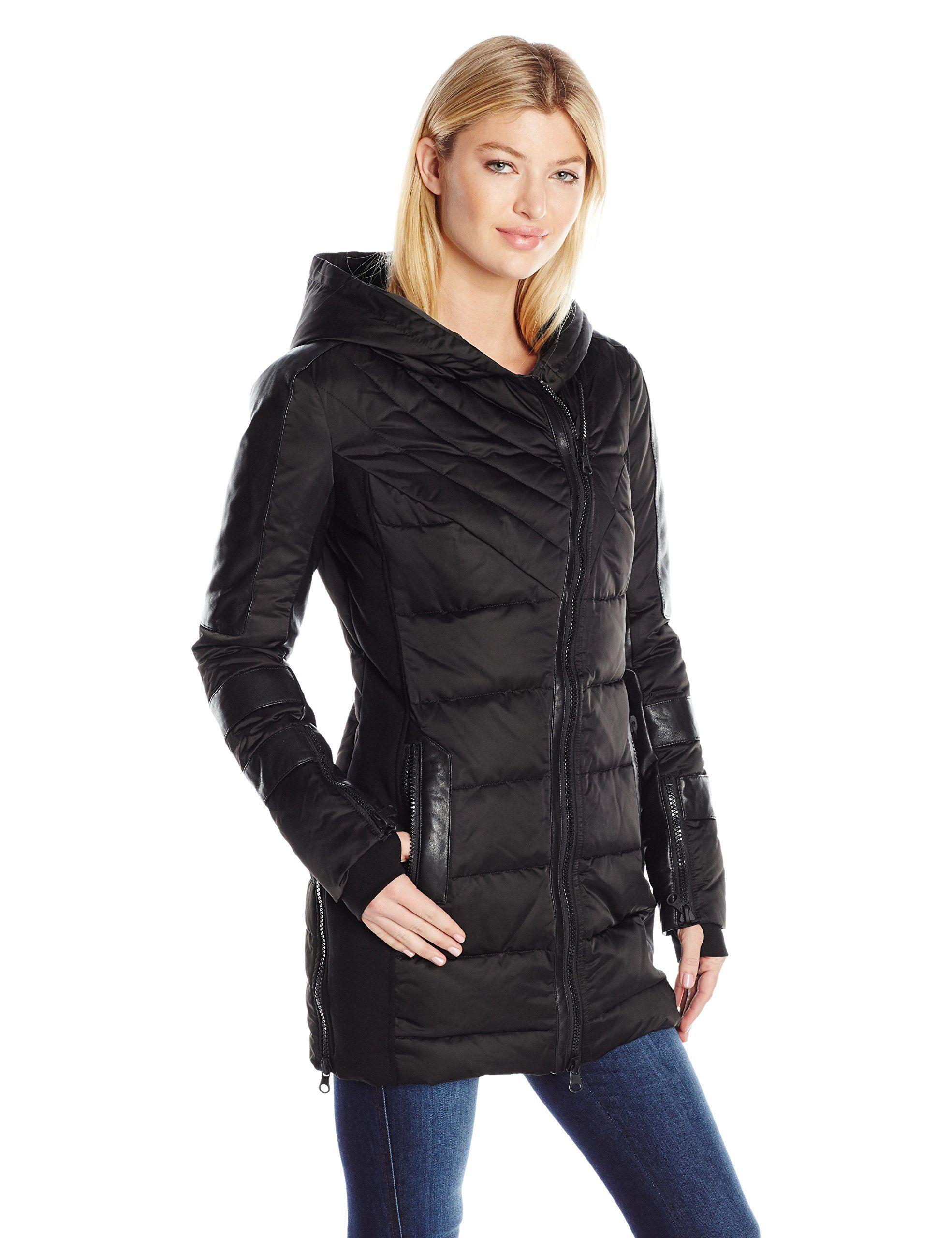 Blanc Noir Women's Asymmetric Puffer Coat, Black Satin