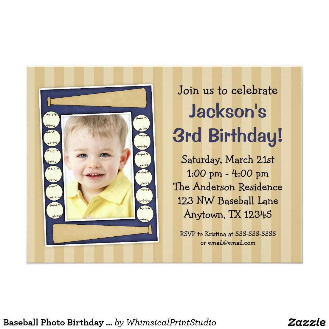 Baseball Photo Birthday Party Blue 5x7 Paper Invitation Card