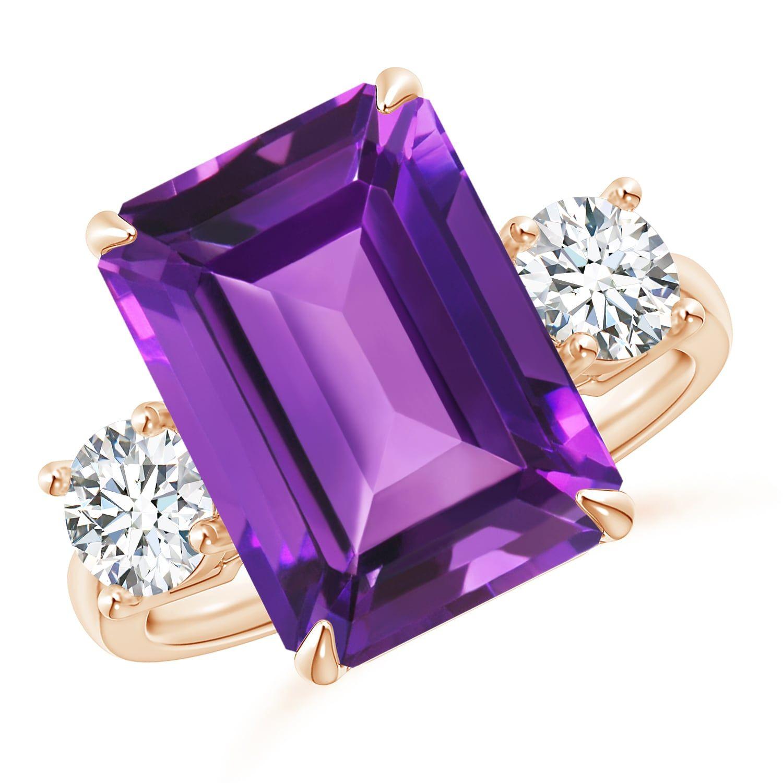 Angara Emerald-Cut Amethyst Three Stone Ring in White Gold U9DyKoT1