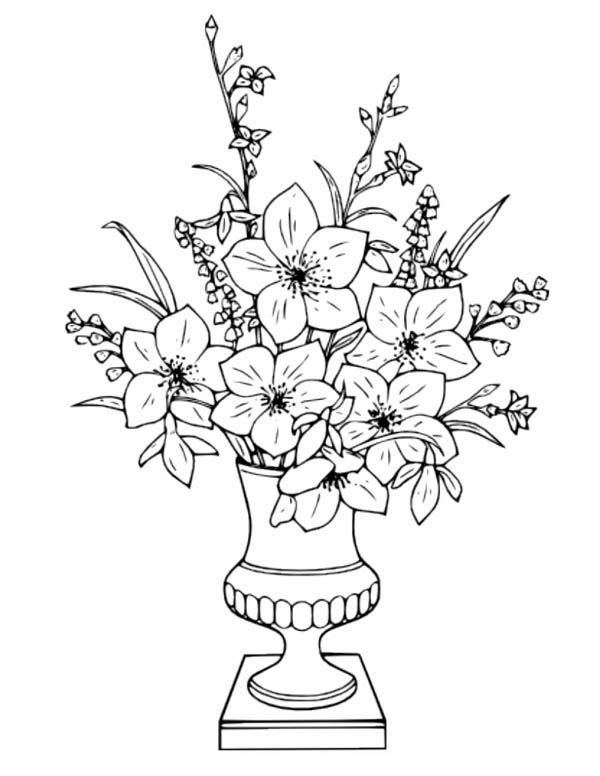 Flower Bouquet In Vase Coloring Page Flower Coloring Pages Flower Coloring Sheets Flower Vase Drawing