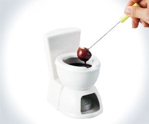 Toilet Fondue | DudeIWantThat.com  Mmm, nothing like a little toilet humor to complement dipping things in chocolate and putting them in your mouth. I think tubular or nondescript mass-shaped fruit, such as bananas and strawberries, intensify the visuals of the toilet fondue effect best. Units sell individually and, like most porcelain thrones, service just one depositor at a time. Probably best to buy at least two. More if you're planning on using them during a dinner
