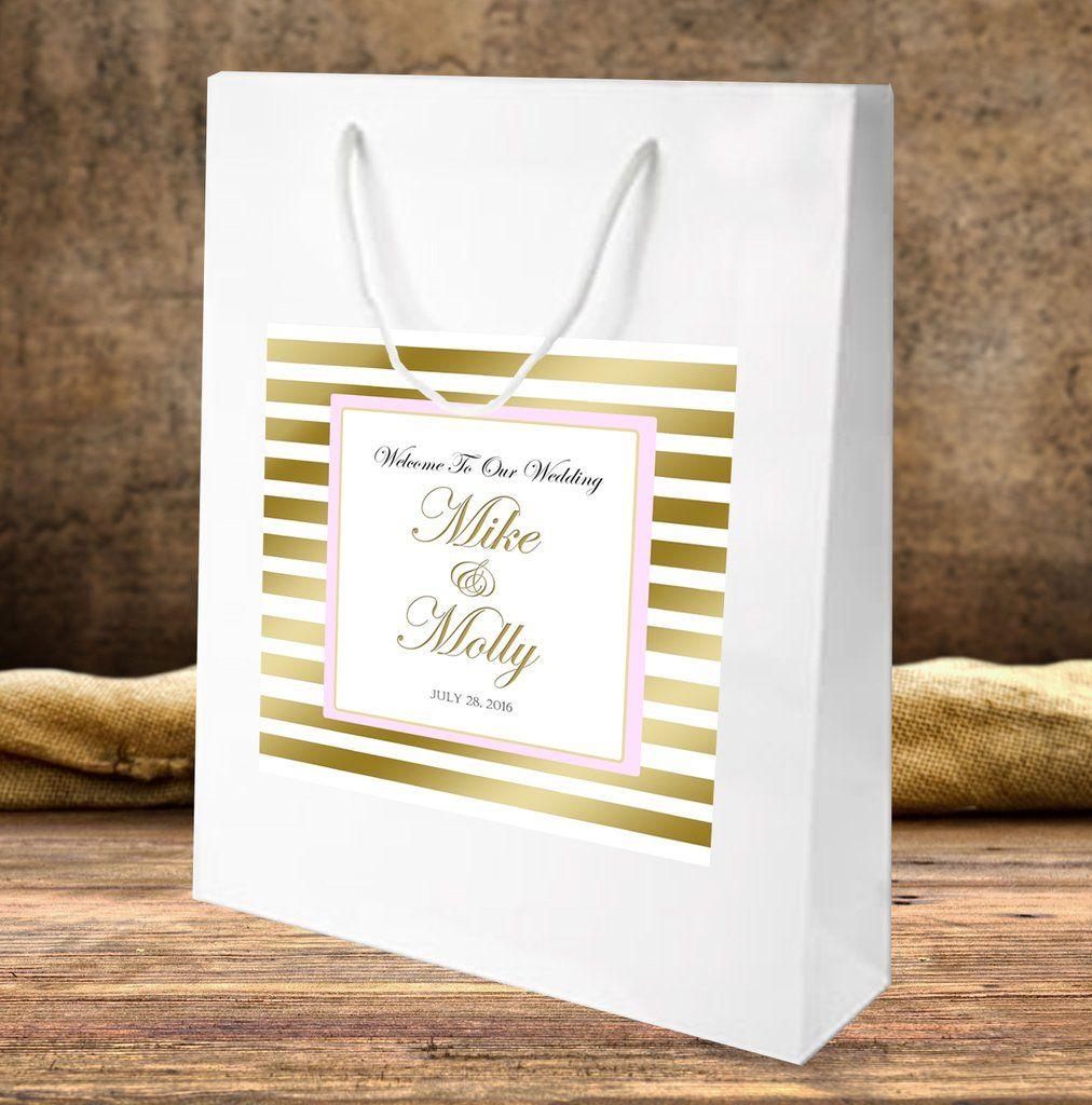 sku161) Gold stripe on white gloss wedding welcome bag | Gold ...