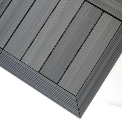 Newtechwood 1 6 Ft X 1 Ft Quick Deck Composite Deck Tile Outside Corner Trim In Westminster Gray 2 Pieces Box Qd Of Gy Deck Tile Deck Tiles Composite Decking