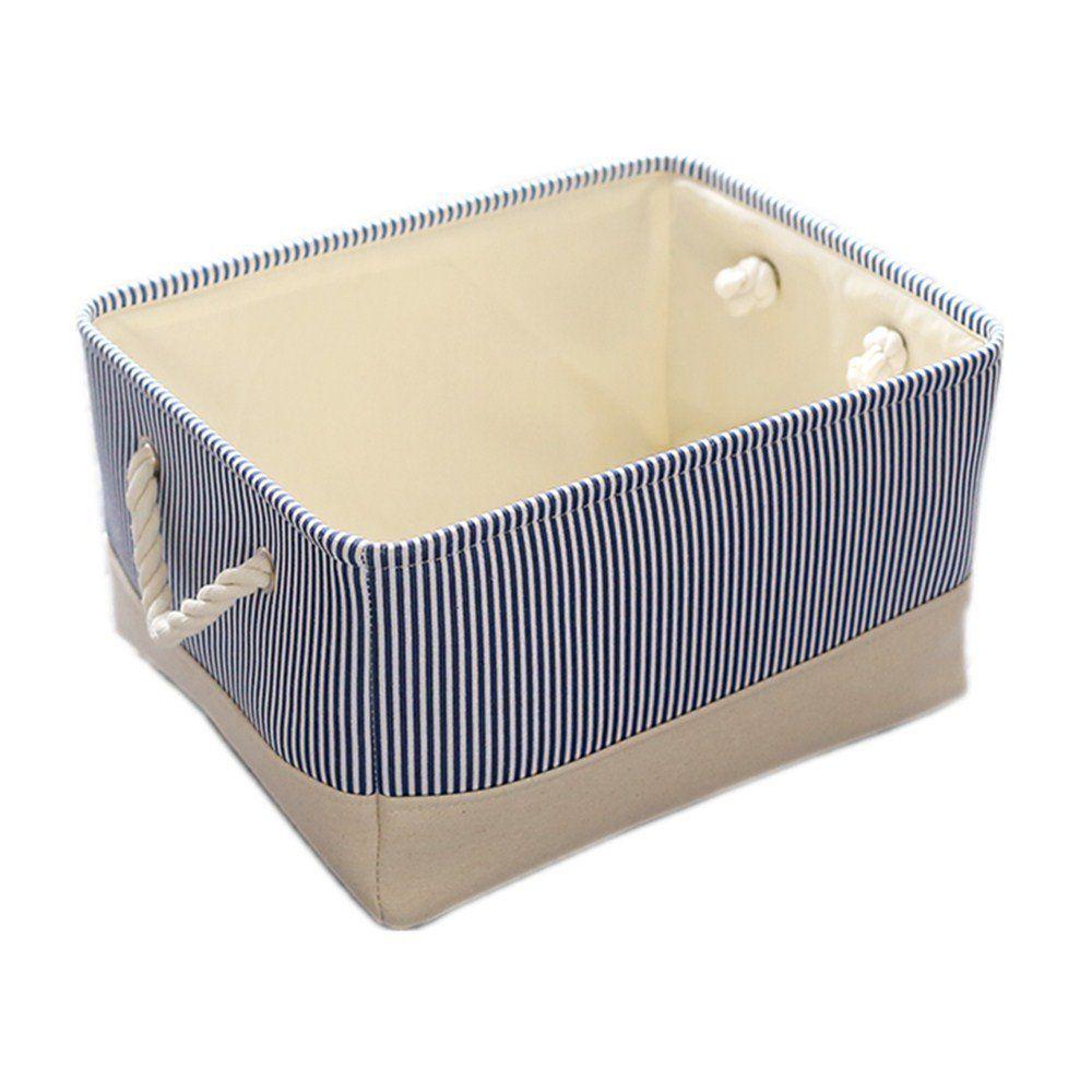 Amazon Com Thewarmhome Fabric Storage Basket For Toys Organizer Blue 15 7 11 8 8 3inch Home Toy Storage Bins Storage Bins Organization Fabric Storage Bins