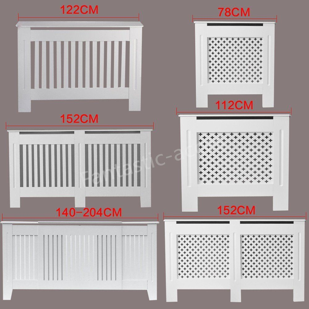 Extra Large Radiator Cover Modern White Painted Cross Grill Wood Wall Cabinet