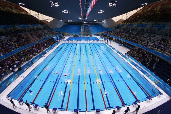 a general view of the pool during the preliminary heats on day one of the london 2012 olympic games at the aquatics centre on july 2012 in london england - Olympic Swimming Pool 2012