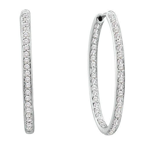 1 Total Carat Weight ROUND DIAMOND LADIES FASHION HOOPS EARRRINGS. This stunning Earring is a piece of jewel that will certainly amaze you. Satisfaction Guaranteed. Return or exchange any order within 30 days. Items is smaller than what appears in photo. Photo enlarged to show detail. All our diamonds are conflict free. Gemstone : Diamond.