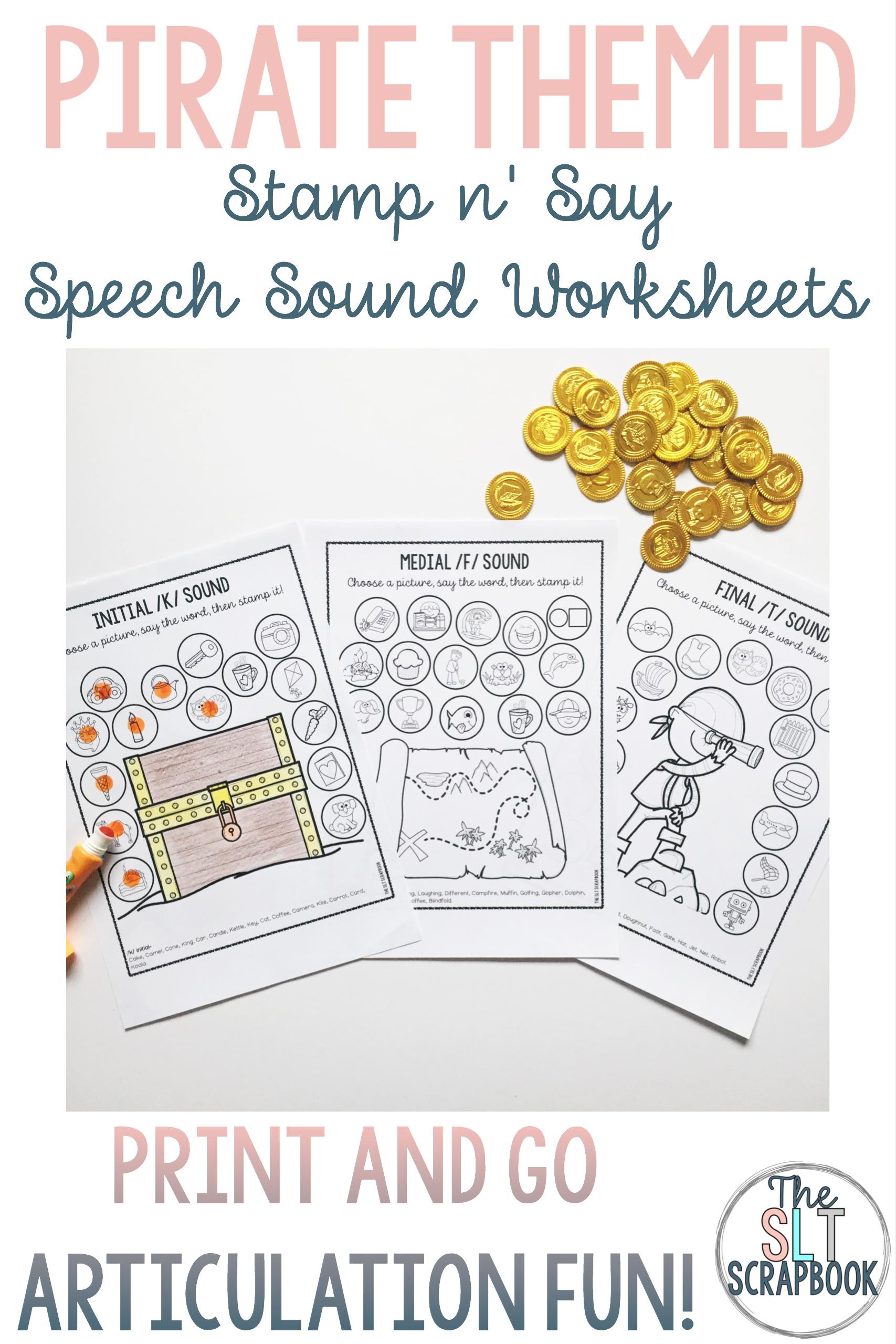 Pirate Themed Speech Sound Worksheets No Prep