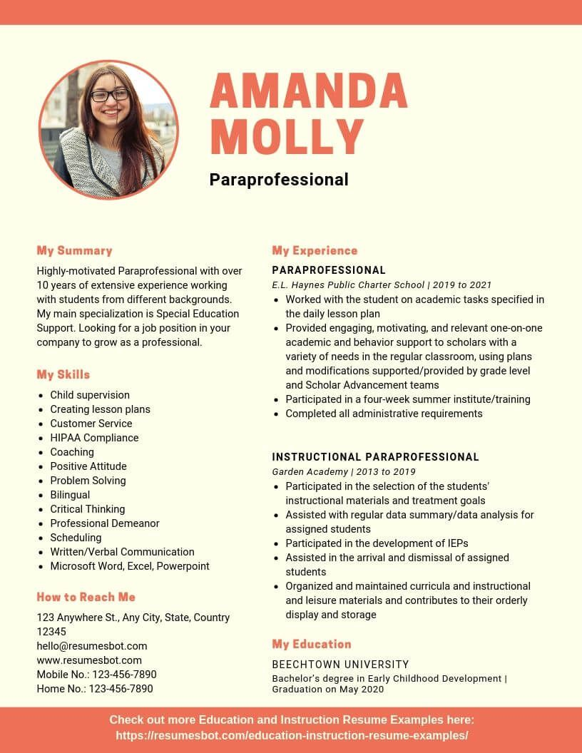 Paraprofessional Resume Samples Templates Pdf Doc 2021 Paraprofessional Resumes Bot Resume Action Words Teacher Resume Examples Teacher Resume Template