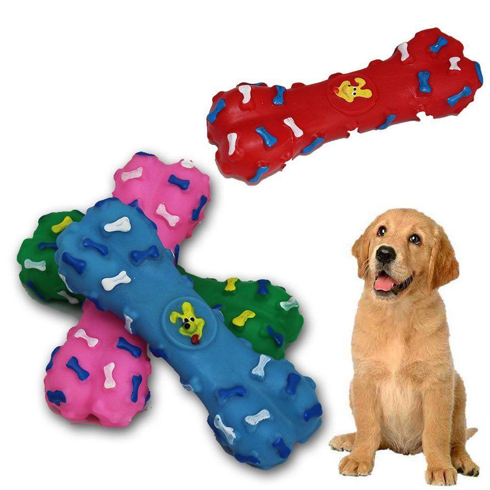 Gogoforward 1pc Dog Bones Plastic Squeeky Puppy Pet Play Chew