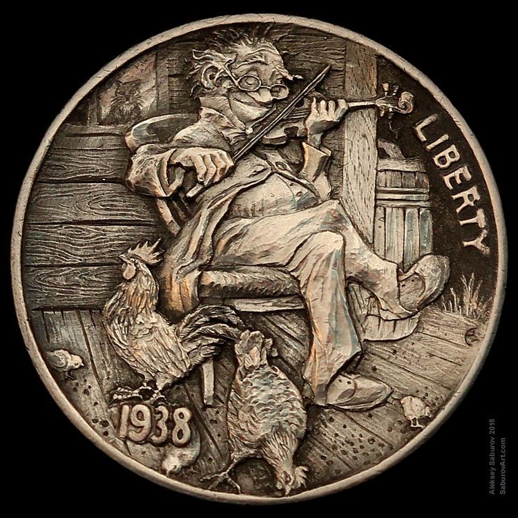 """Hobo Nickel """"Playing for poultry""""  engraved by Aleksey Saburov."""
