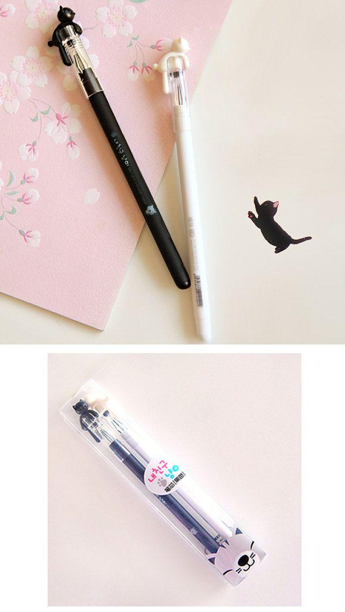 2pcs//set Cute Cat Gel Pen Black Ink Pens Kawaii Stationery School Office Supply