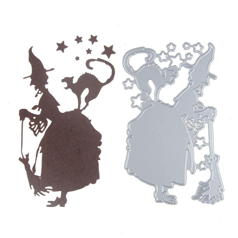 Halloween Stencil Metal Cutting Dies Scrapbooking Embossing Witch Cut Die Card