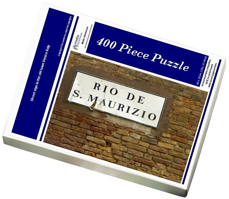 Photo of Jigsaw Puzzle-Street sign in the old town Venice Italy-400 Piece Jigsaw Puzzle made to order in the UK