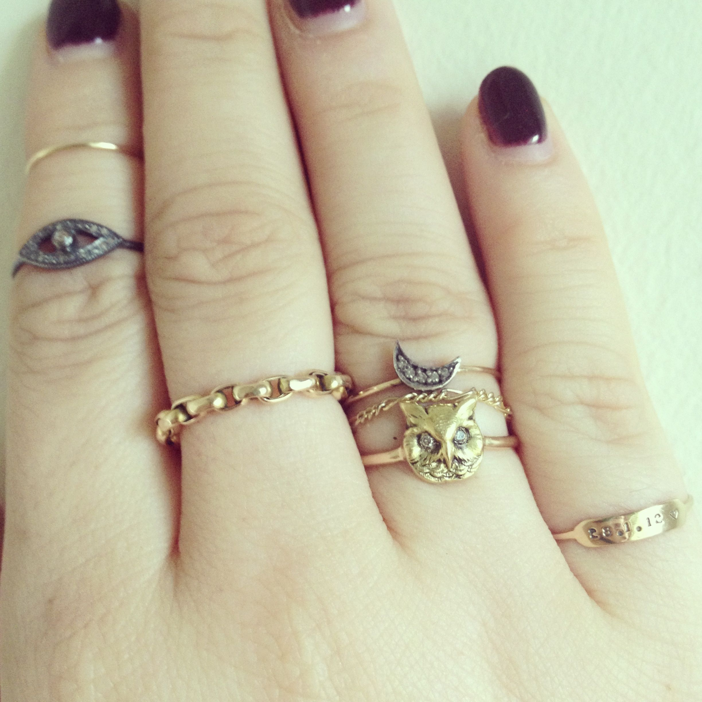 Catbird Silver And Gold Diamond Moon Ring, Annina Vogel Antique Chain Ring,  Antique Gold
