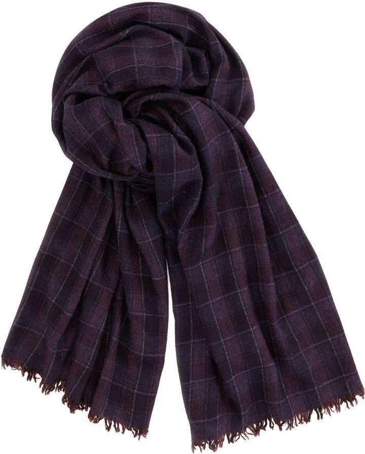 860478483435c Brunello Cucinelli Plaid Cashmere Men's Scarf, Purple on shopstyle.com