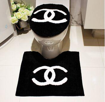 3 pcs set noir lettres flocage toilettes anneau de toilettes si ge de toilette cover set tapis. Black Bedroom Furniture Sets. Home Design Ideas