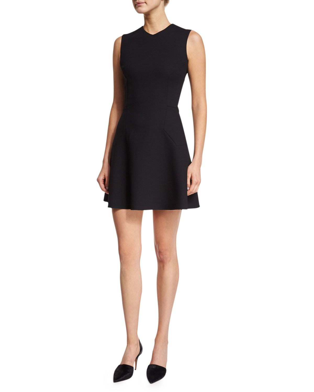 Victoria Beckham Black Sleeveless High Neck Matte Crepe Dress Lyst