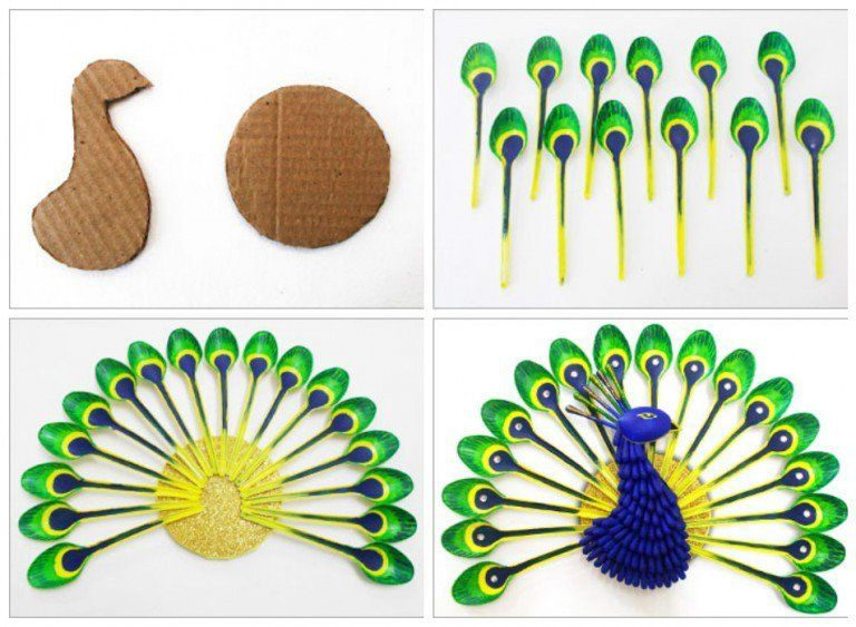 Diy home decor how to make beautiful peacock with plastic for Best out of waste ideas from plastic spoons