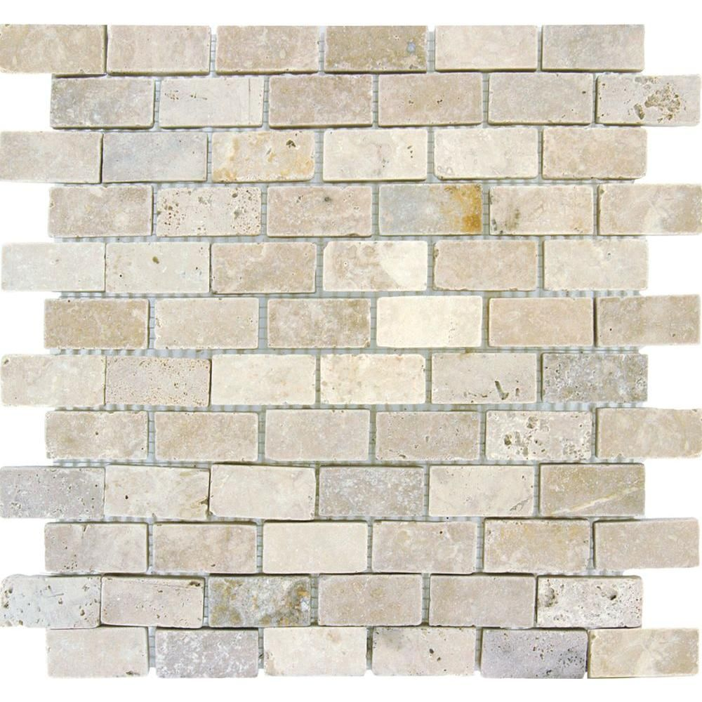 MS International Chiaro Brick 1 In. X 2 In. Travertine Mosaic Floor U0026 Wall