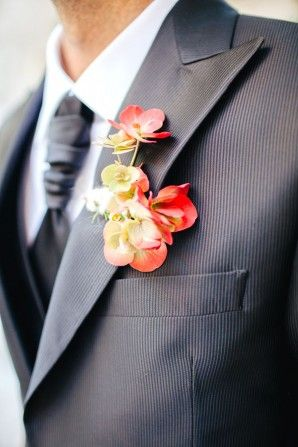 red and yellow boutonnière