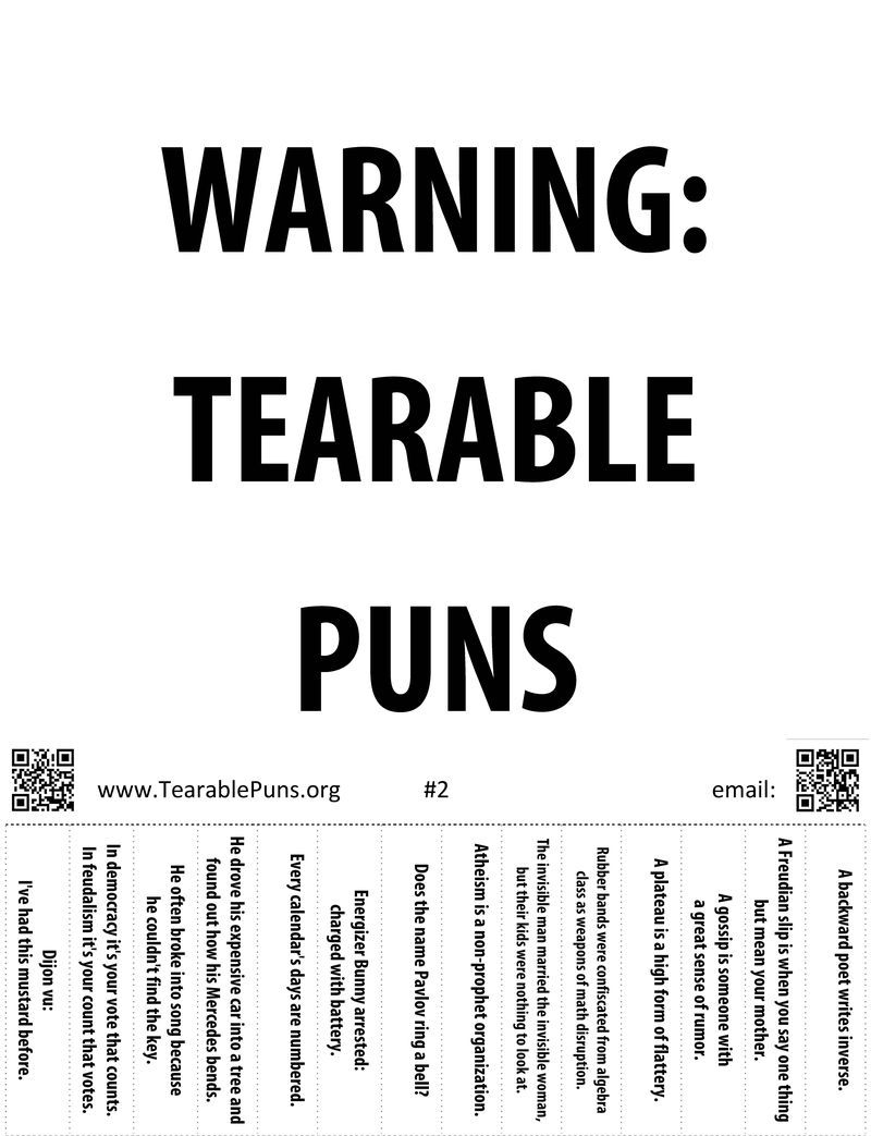 Here is Tearable Pun Poster #2! | Tearable Puns Posters