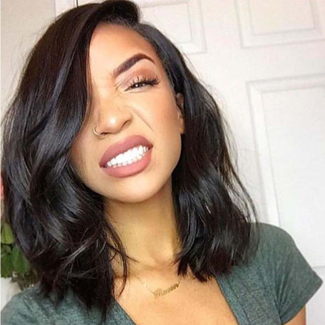 Lace Front Wigs Human Hair Wave Short Bob Left Part Brazilian Hair Natural Color Hair Styles Relaxed Hair Hair Inspiration