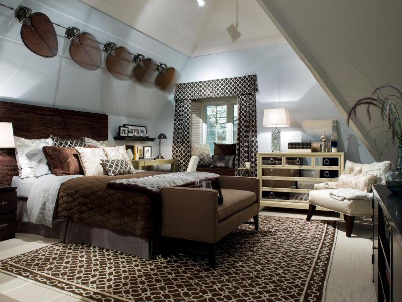 Schlafzimmer Dachschraege Gestalten Wand Deko Ideen