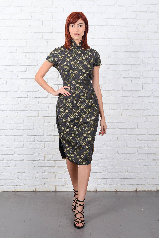 Vintage 60s Cheongsam Dress Asian Oriental Gold Metallic Small S ...