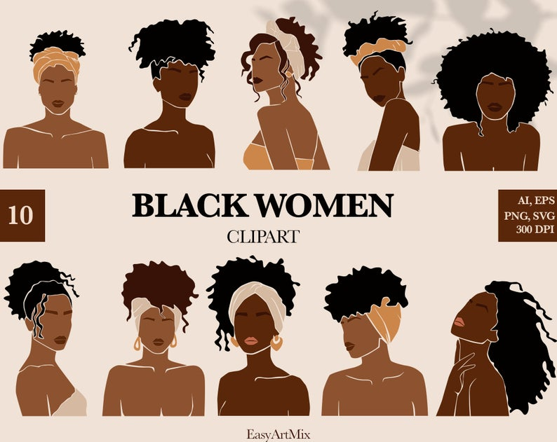 30+ Black Woman With Afro Clipart