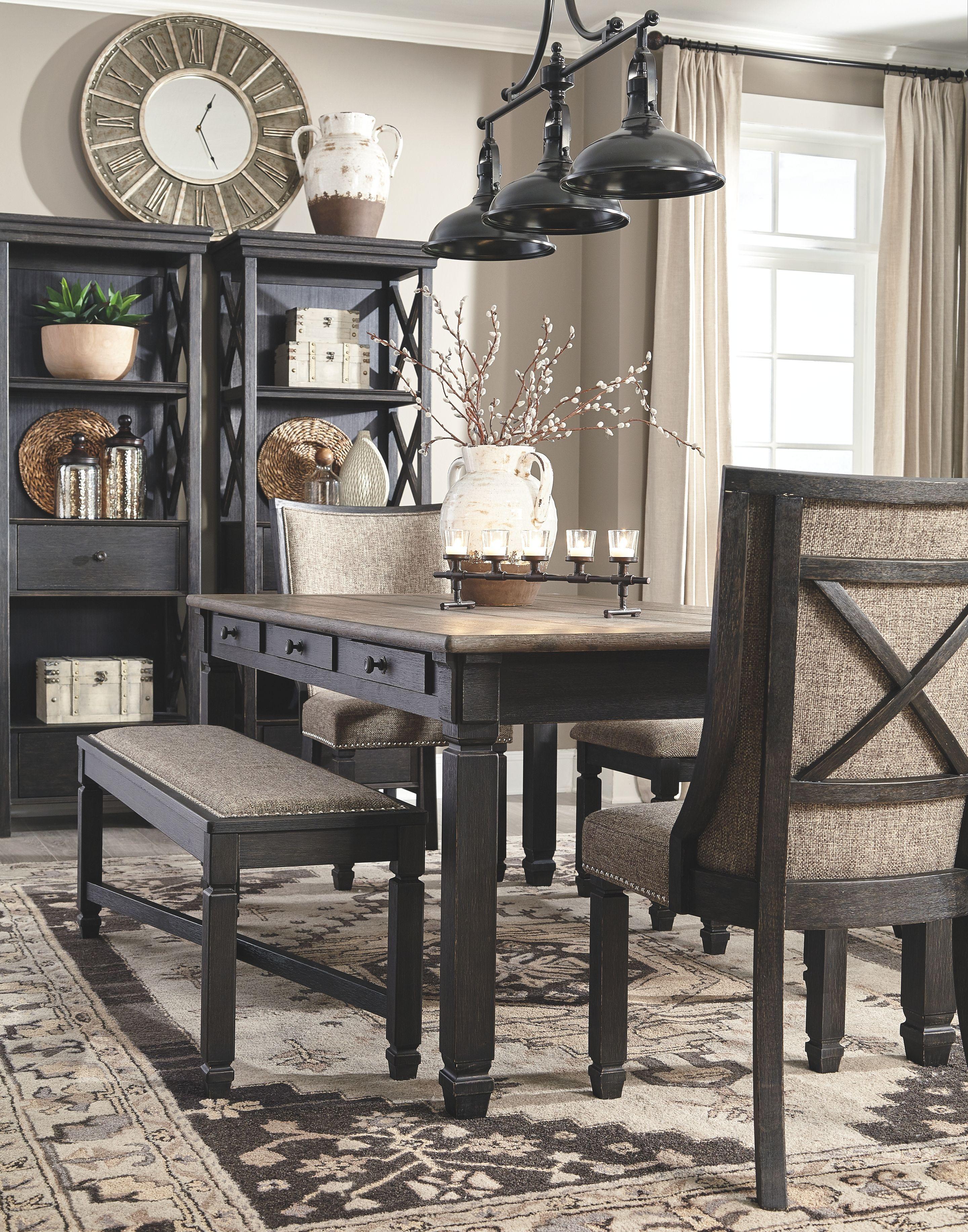 Tyler Creek Display Cabinet Black Gray Farmhouse Dining Rooms