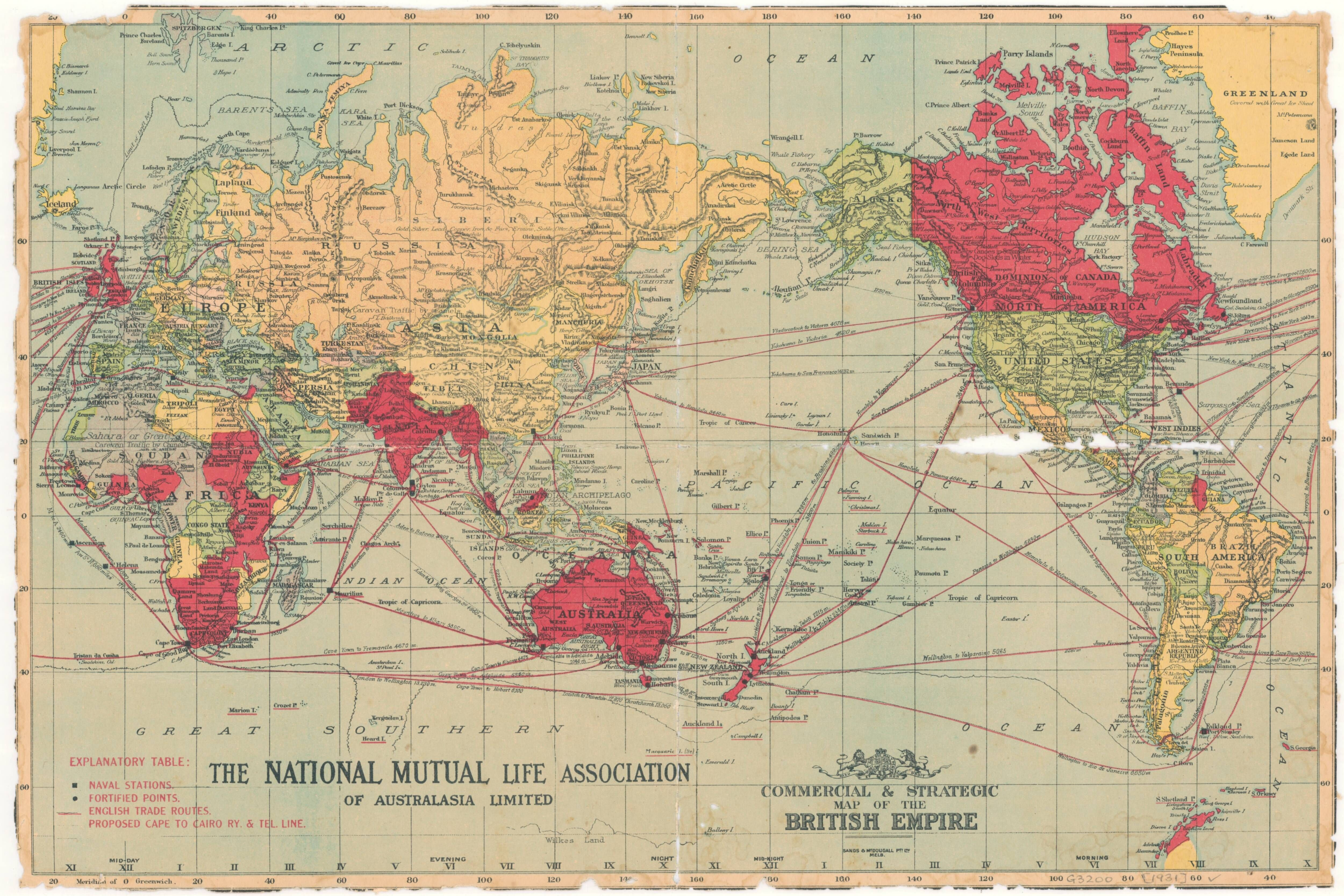 Commercial u0026 strategic map of the British